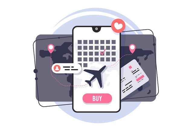 Compra online de pasajes aéreos. solicitud de reserva de billetes de avión. horario de vuelo.