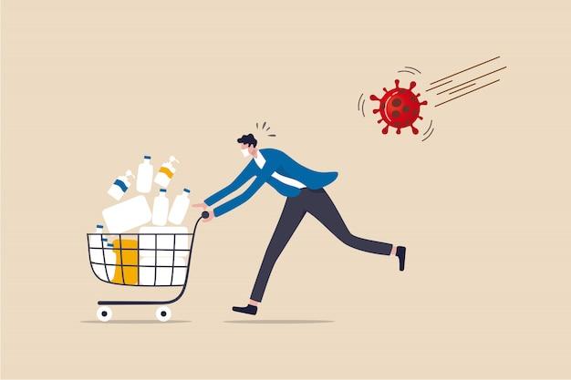 Compra de pánico en la crisis del brote de coronavirus covid-19, personas atesorando el concepto de toque de queda y bloqueo, hombre de pánico corriendo con miedo lleno de productos, medicamentos, tejidos en el carrito de compras con virus patógeno.