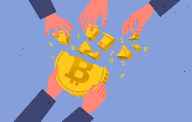 Compra y venta de bitcoins, hype en el mercado de las criptomonedas. ilustración plana.