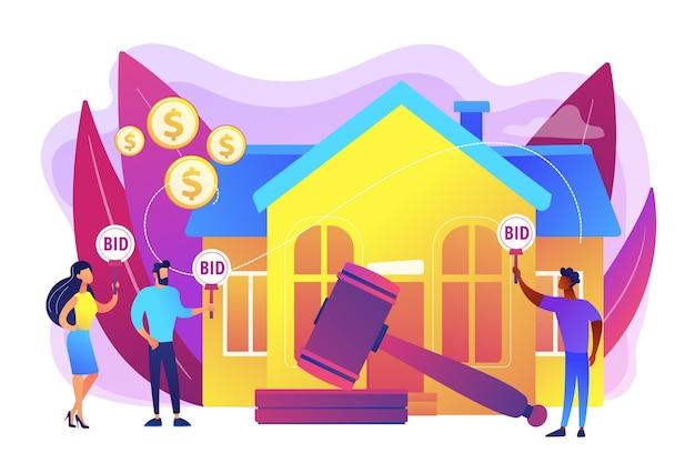 Compra y venta de propiedades. casa de subastas, licitaciones exclusivas aquí, procesamiento de licitaciones consecutivas, negocio que ejecuta concepto de subastas. ilustración aislada violeta vibrante brillante