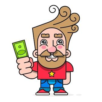 Comprador con dinero en mano, quiere comprar carácter vectorial de mercancías listo para su diseño, tarjeta de felicitación, pancarta