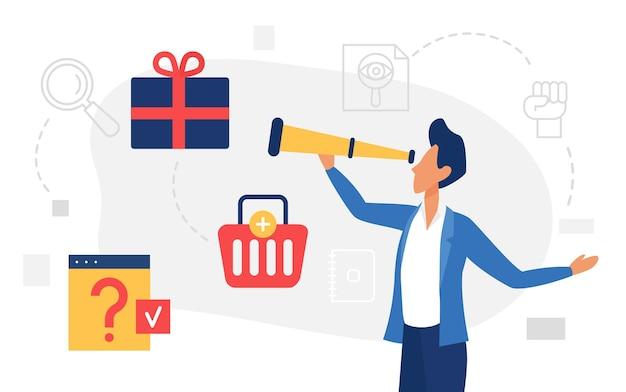 Comprador de hombre de concepto de comercio electrónico de compras en línea con telescopio en busca de bienes