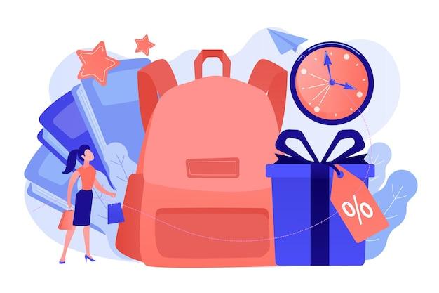 Comprador de libros de mochila escolar con bolsa de compras y caja actual con etiqueta de porcentaje