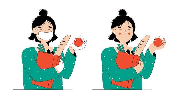 Comprador de mujer joven feliz, manos en guantes están sosteniendo bolsas de compras con comestibles