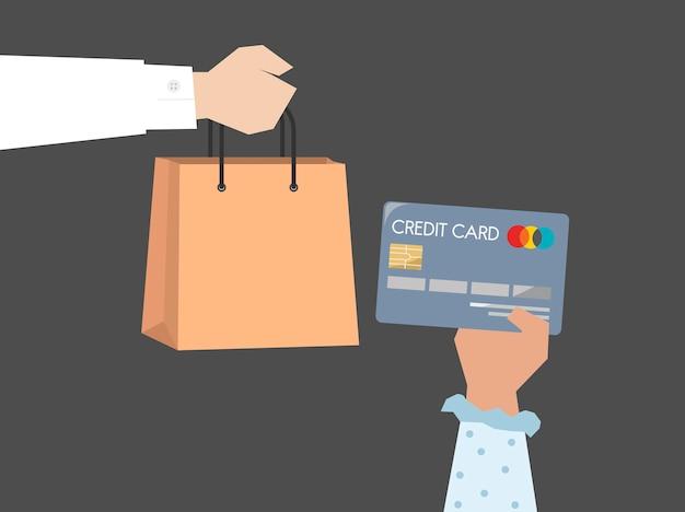 Comprador pagando con ilustración de tarjeta de crédito