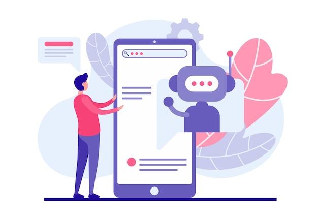 El comprador selecciona el producto utilizando el concepto de aplicación web bot. el personaje masculino lee la lista de servicios en línea en el teléfono inteligente que ofrece el programa chatbot. asistente de éxito en el comercio de internet