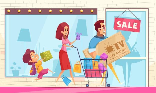 Compradora horizontal compradora compulsiva con escaparate con cartel de venta y personajes de dibujos animados de miembros de la familia con bienes
