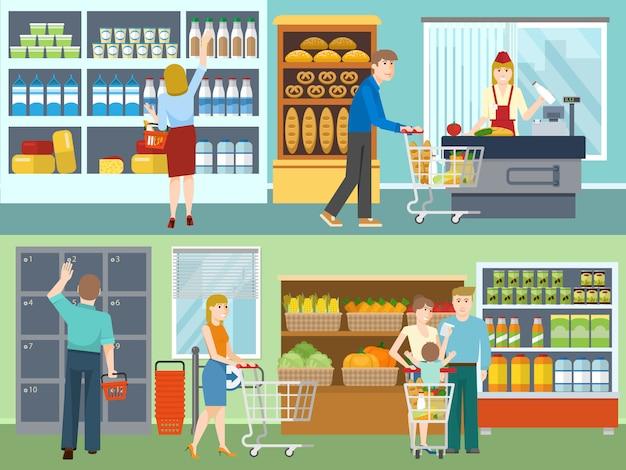 Compradores en conceptos de supermercado