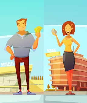 Compradores de divertidos dibujos animados dos pancartas verticales con hombre y mujer de pie en el fondo del centro comercial y sosteniendo