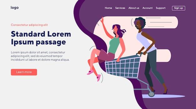 Compradores femeninos celebrando venta