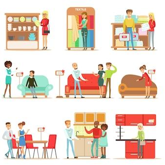 Compradores sonrientes en la tienda de muebles, comprando objetos de decoración de la casa con ayuda de vendedores profesionales de grandes almacenes