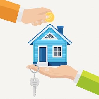 Comprando una casa. inmobiliaria y concepto de hogar en venta. ilustración. estilo