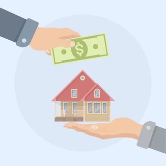 Comprando una casa. inmobiliaria y concepto de hogar en venta. v