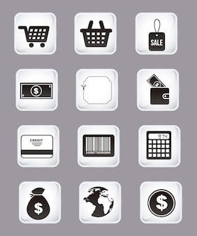 Comprar botones de iconos sobre fondo gris ilustración vectorial