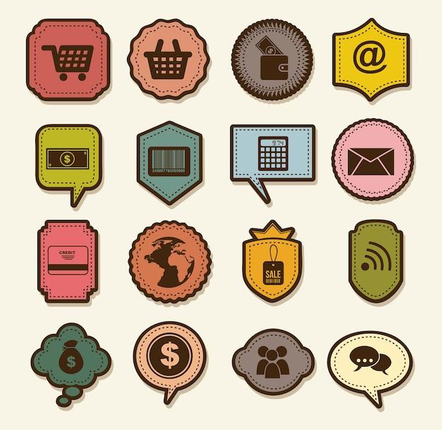 Comprar iconos sobre fondo beige ilustración vectorial