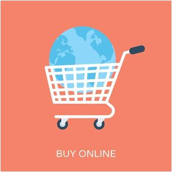 Comprar en línea icono de vector plano