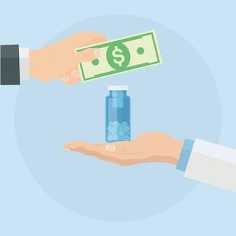 Comprar medicina. el doctor sostiene una botella de píldoras, el paciente da dinero. tienda de farmacia