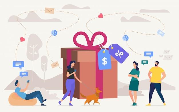 Comprar regalos en concepto plano de venta de tienda
