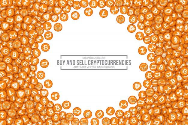 Comprar vender cryptocurrencies conceptual vector illustration