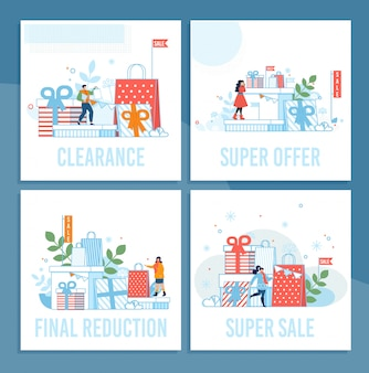 Comprar ventas en vacaciones de invierno set de tarjetas de dibujos