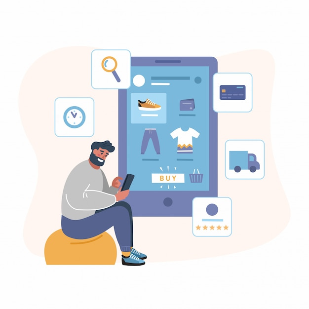 Compras con aplicación móvil en tienda online - diseño plano