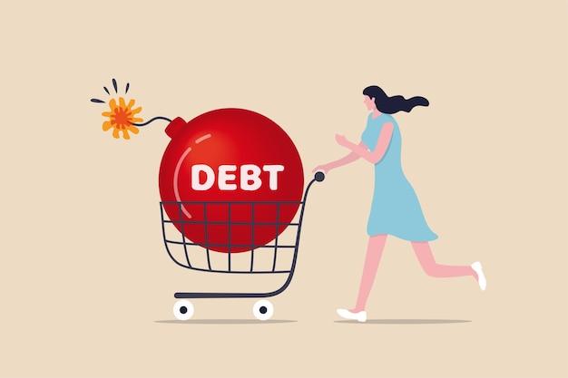 Durante las compras, compre algo y pague más que los ingresos o los ingresos, la deuda del hogar o el concepto de préstamo e hipoteca financiero, una mujer joven camina con un carrito de compras con una gran bomba con la palabra deuda.