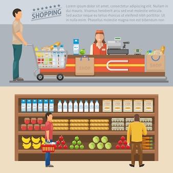 Compras conceptos coloreados con el hombre en la caja y los consumidores cerca de los estantes con productos aislados ilustración vectorial
