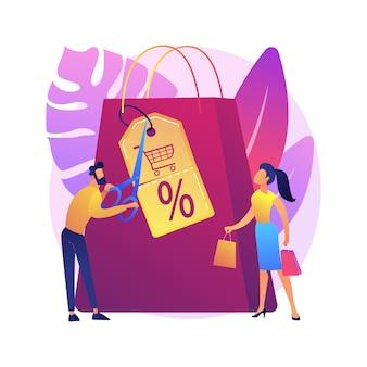 Compras descuentos y bonificaciones icono web de dibujos animados. reducción de precios de venta, ventas minoristas, marketing creativo. oferta especial, idea de atracción de clientes.