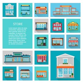 Compras en edificios de tiendas con grandes ventanales e íconos de árboles con sombra plana