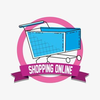 Compras en línea con el estilo del arte pop carrito