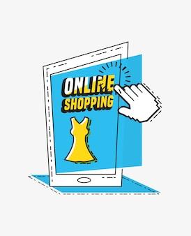 Compras en línea con estilo de arte pop de smartphone