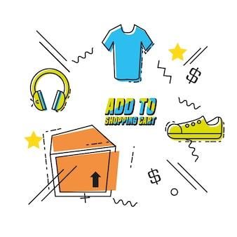 Compras en línea del arte pop conjunto de iconos vector ilustración diseño