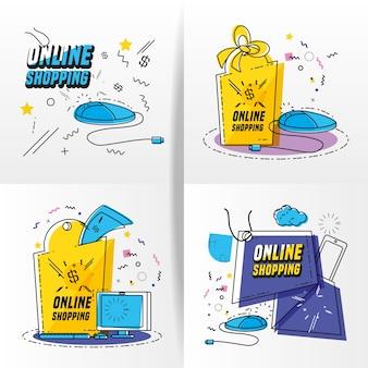 Compras en línea iconos de arte pop set