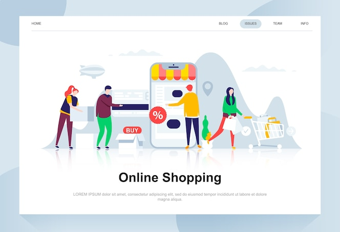 Compras en línea moderno concepto de diseño plano.