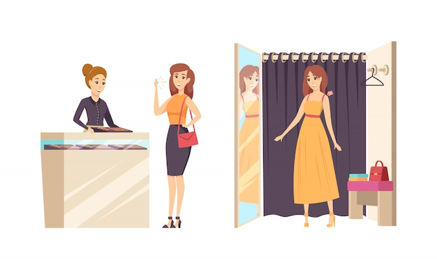 Compras joven mujer en vestuario