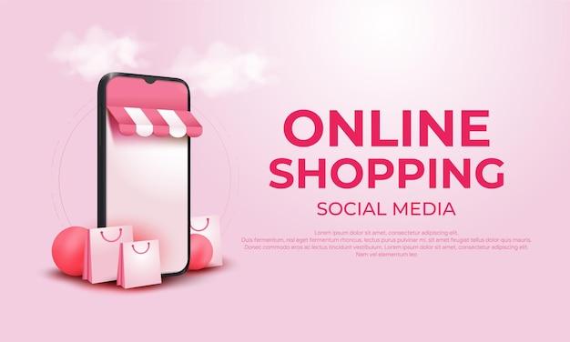 Compras en línea 3d en aplicaciones móviles o sitios web de redes sociales