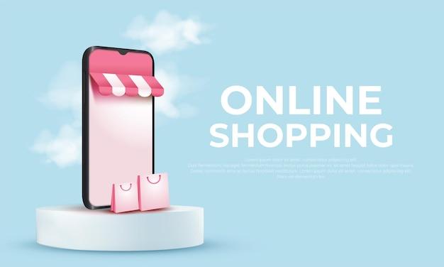 Compras en línea 3d en aplicaciones móviles o sitios web