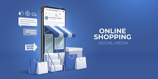 Compras en línea 3d en aplicaciones móviles de redes sociales o conceptos de sitios web.