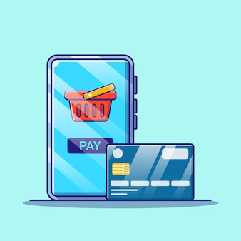 Compras en línea en la aplicación móvil con ilustración de tarjeta de crédito. concepto de icono de compras aislado.