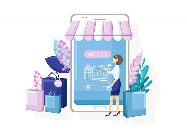 Compras en línea aplicación promoción de venta estilo plano.