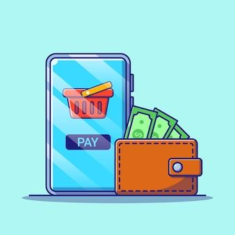 Compras en línea en aplicaciones móviles con ilustración de billetera. concepto de icono de compras aislado.