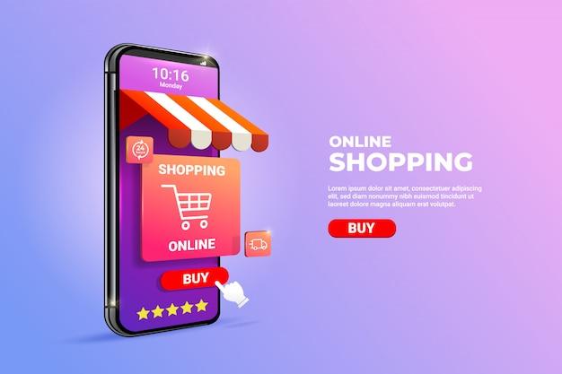 Compras en línea en aplicaciones móviles o conceptos de sitios web.