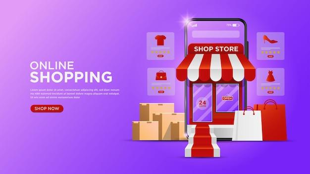 Compras en línea en aplicaciones móviles o conceptos de sitios web