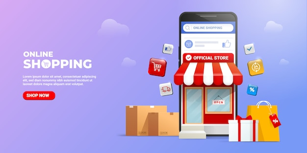Compras en línea en aplicaciones móviles de redes sociales o conceptos de sitios web.