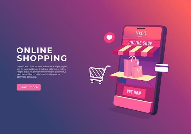 Compras en línea en banner de aplicaciones móviles.