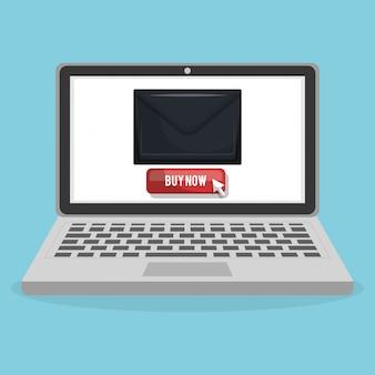 Compras en línea con banner de computadora portátil