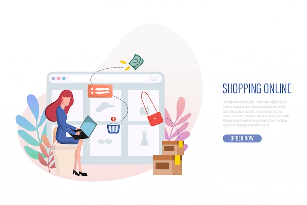 Compras en línea banner página de destino web.