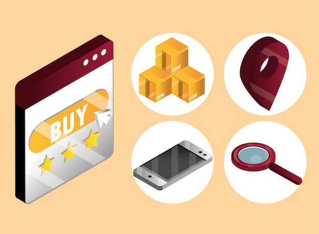 Compras en línea, botón de compra en el sitio web con cajas de entrega, ubicación móvil e iconos de búsqueda, ilustración vectorial isométrica