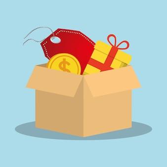 Compras en línea caja regalo etiqueta precio moneda