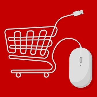 Compras en línea carrito de compras creado con cable usb de ratón de ordenador blanco sobre fondo rojo brillante